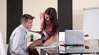 Hot Horny Secretary And Her Boss At Work