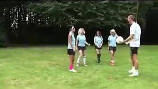Four British Schoolgirls are very nice to their PE teacher