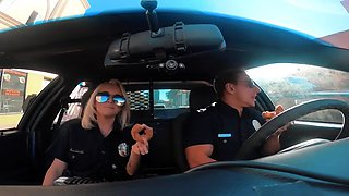 Stunning blonde police officer flashes her fabulous big tits