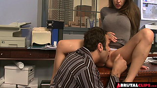 Rachel Roxxx Uses Her Big Tits To Make Her Boss Happy