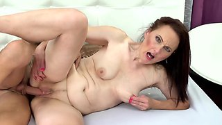 A sexy slut with a pale body is getting her pussy fucked well