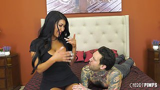 Fake-titted August Taylor has a tattooed fucker that slams her