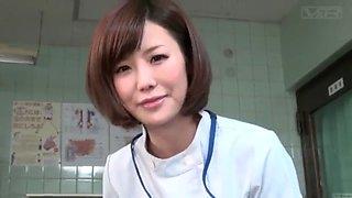 Subtitled cfnm japanese female doctor gives patient handjob
