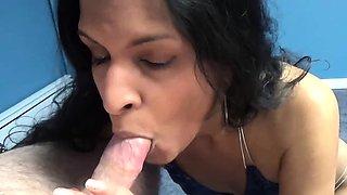 Indian housewife Naomi Shah in a skimpy blue bikini while
