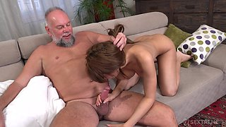 Old perverted stepdad is in sore need of a good fuck with a young woman