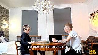 TUTOR4K. Lucky stud manages to fuck experienced tutor in sexy stockings