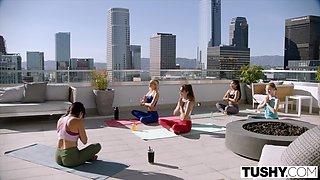 TUSHY Sexy Kenna James cheats and gets DPed at yoga retreat