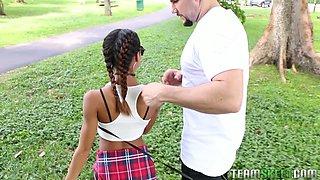 Pigtailed Latina cheerleader Kendall Woods sucks big cock of her brutal American buddy being on knees