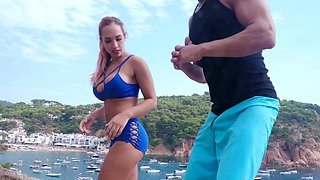 Incredible fucking by the sea ends with cum in mouth for Briana Banderas