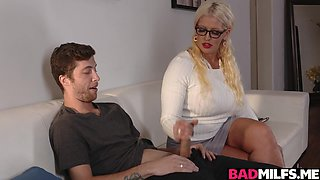 Alura Jensen sucking Dylan Snows cock while her daughter is sleeping
