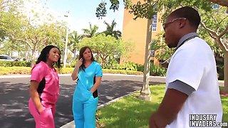 Interracial Nurse Threesome