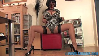 Busty MILF Danica Collins playing with her pussy on the floor