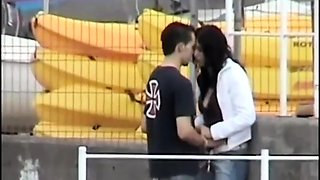 Naughty brunette girlfriend rides a cock in the outdoors