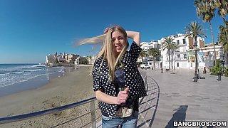 Hot blonde stranger Lolly Gartner takes money to have outdoors sex