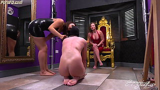 Trampled barefooted by two girls