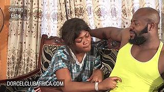 Married ebony couple has intimate sex on the sofa