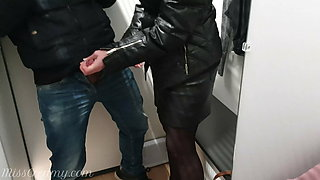 Teacher flashed and then sucks my dick in the mall dressing room 4K