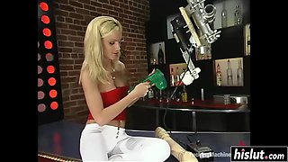 Hot blonde experiments with new machines
