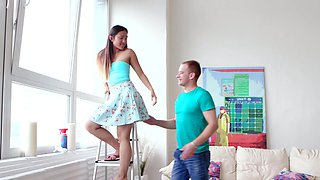 Sweet girl Mai Thai gets talked into playing with his hard dick