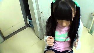 Sweet Asian teen enjoys wild sex action in a public toilet