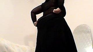 Playful brunette with massive boobs sucks fat monster cock