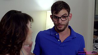 Stepmom Audrey Noir is teaching her stepson how to fuck hairy pussy of GF