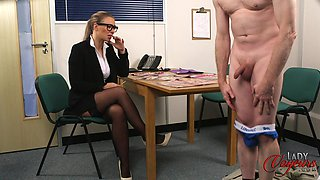 Amateur man takes off his pants to tease cock hungry Beth Bennett