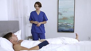 Stepsister Nurse Student Nurtures Her Brother Back to Health by Fucking Him
