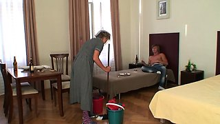 Cleaning old woman enjoys riding his horny dick
