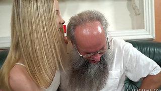 Blonde teen gets fucked by grandpa albert