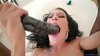 megan rain gets her holes dug by a big cock and a dildo simultaneously