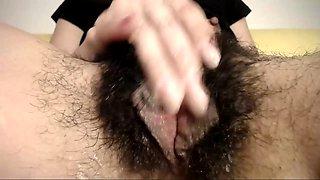 Fingering her super wet hairy pussy pov