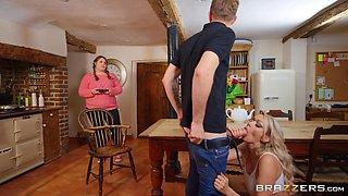 Slutty nudist Amber Jayne has naughty fun with her daughter's boyfriend