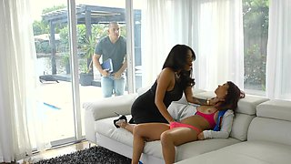 Sexy Latina MILF has fun with hot stepdaughter and her BF