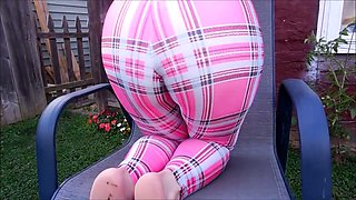 Spandex Angel - Plaid spandex face sitting
