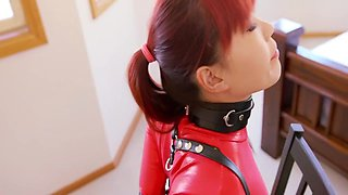 Mina in Chair Bound In Red Thong Bodysuit