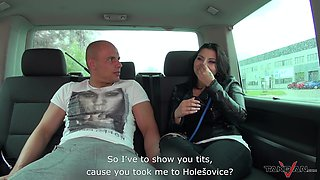 Wide hipped Euro babe rides a dude's cock in the backseat of his van