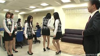 Kinky girls drop their clothes and masturbate in front of their boss