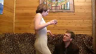 Slim short haired and drunk bitch gives a ride to a stiff hot cock