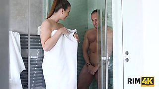 RIM4K. Magnificent babe satisfies dirty dream of her BF licking his ass and jerking off