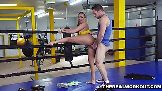 Sporty MILF fucks her boxing coach after knocking him the fuck out