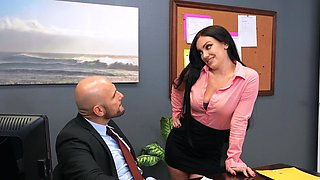 Hardcore fucking in the office with dirty babe Leila Larocco