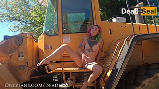 Hot Emo Girl Climbs Neighbors Tractor To Masturbate