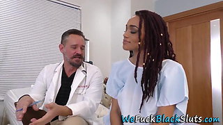 Black babe gets group banged by white docs
