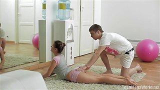 Gorgeous babe enjoys banging her Pilates instructor