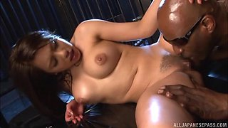 Interracial pussy drilling with a BBC for sexy Mei Matsumoto