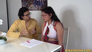 Busty Indian teen schoolgirl sucks teacher's dick