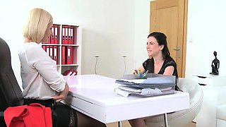 FemaleAgent Sexy agent dominates casting with a big strap on