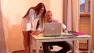 Impressive nude office shag for the new secretary