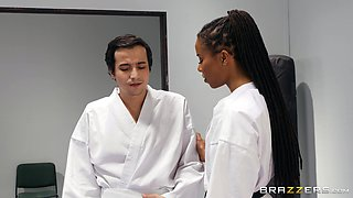 Self-defense instructor Kira Noir gets rough with a student